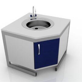 Стол лабораторный угловой с тумбой 201-005-1Т-750/850