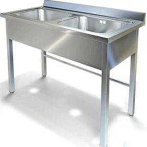 Стол специализированный (ванна моечная) с двойной емкостью, с фартуком МВФ (1200*600*850, с двумя мойками)