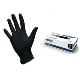 Перчатки нитриловые текстурированные на пальцах Nitrimax XS, черные, 4.5 г, 50 пар