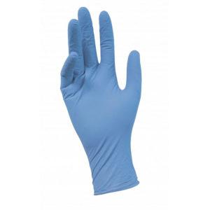 Перчатки нитриловые неопудренные текстурированные на пальцах BENOVY Nitrile Chlorinated, M, голубые, 3 г, 50 пар