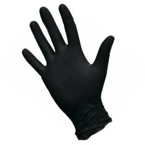 Перчатки нитриловые неопудренные текстурированные Safe&Care, L, черные, 50 пар