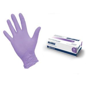 Перчатки нитриловые текстурированные на пальцах Nitrimax M, сиреневые, 4,5 г, 50 пар