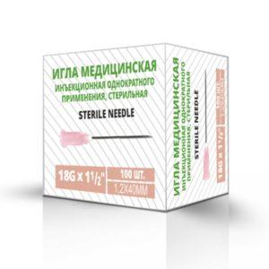 Игла медицинская инъекционная одноразовая (стерильная) 1,2x40 мм