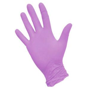 Перчатки нитриловые неопудренные текстурированные на пальцах SunViv, L, фиолетовые, 50 пар