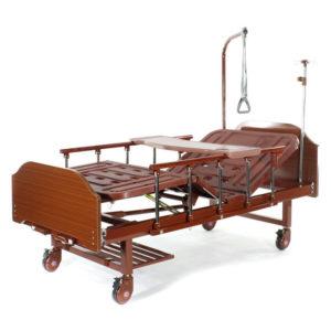 Медицинская кровать Е-8 MM-118ПЛН (2 функции) ЛДСП с полкой и обеденным столиком