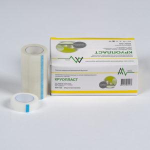 Фиксирующий рулонный пластырь на основе перфорированного прозрачного пластика - Круопласт (2.5 x 914 см) 12 шт